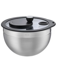 Salad spinner with glass lid