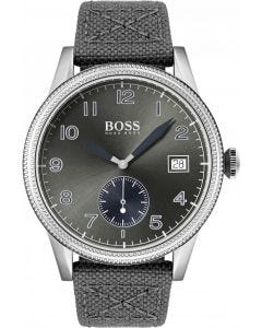 Hugo Boss Legacy Grey Canvas and Leather Watch