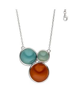 Jograbo Necklace silver with chalcedony and carnelian