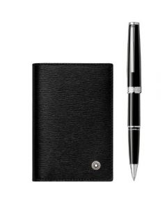 Montblanc Gift Set w/ PIX Black Rollerball and Business Card Holder with V Gusset