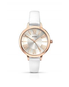 Sekonda Ladies White Leather Strap Watch with Rose Gold coloured accents