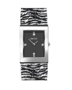 Seksy Rocks Zebra Print Bracelet Watch