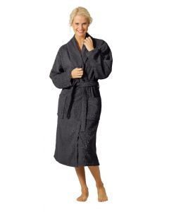 Twentse Damast Terry Bathrobe Dark Grey